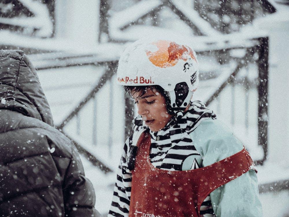 Boy Wearing White Helmet