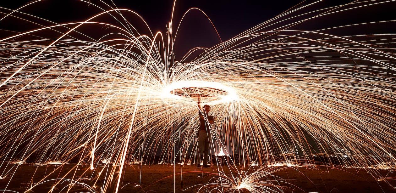 Photo of Man Doing Steel Wool Photography