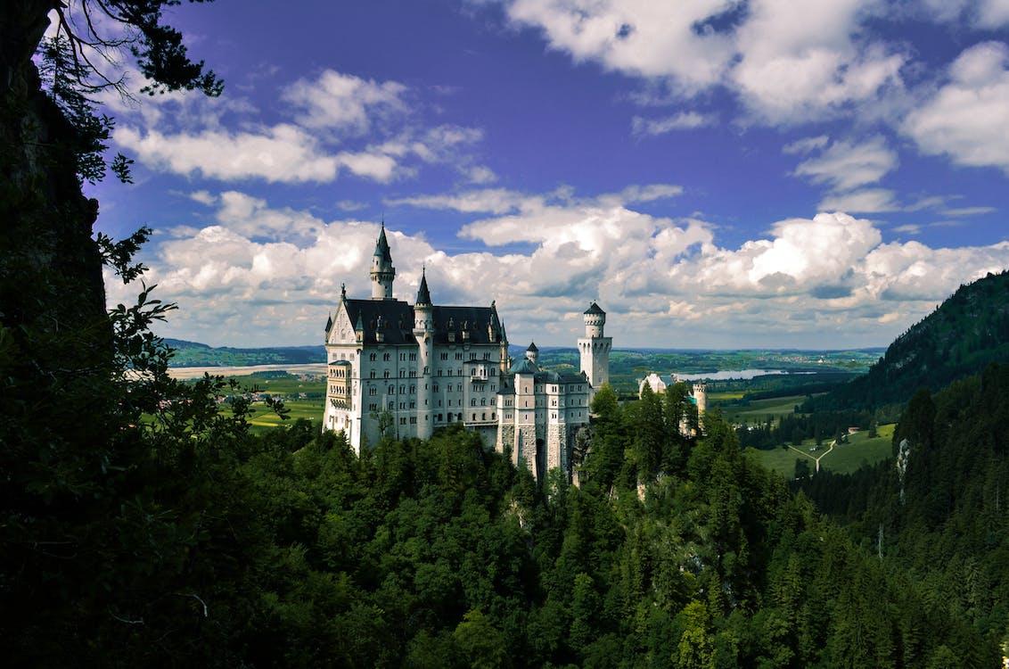 arquitetura, árvores, castelo