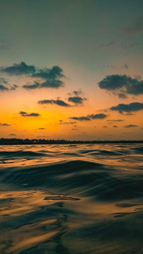 Beautiful bright sunset over rippling sea