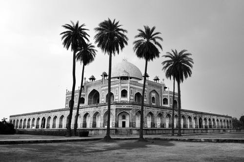 Grayscale Photo of Humayun's Tomb in New Delhi, India
