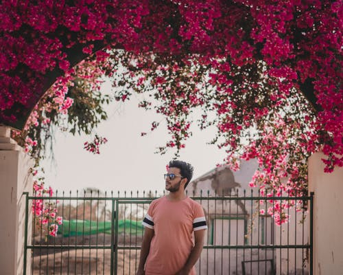 Photo of Man Standing In Front of Metal Gate With Pink Bougainvilleas Flowers Above it