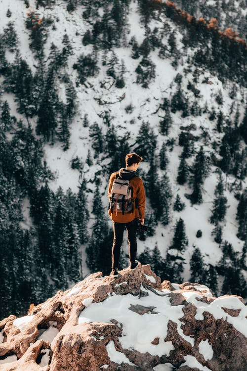 Photo of a Man at the Top of a Snowy Mountain