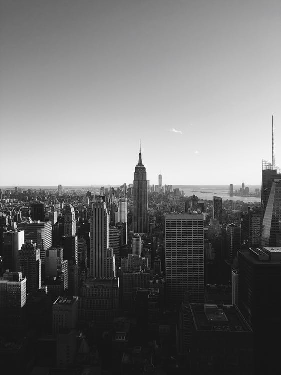 Grayscale Photo of New York City Cityscape