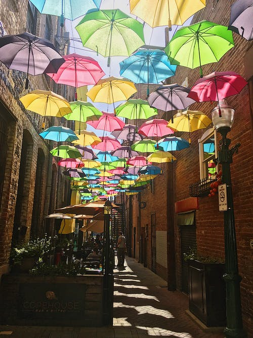 Photo of Colorful Umbrellas Hanging
