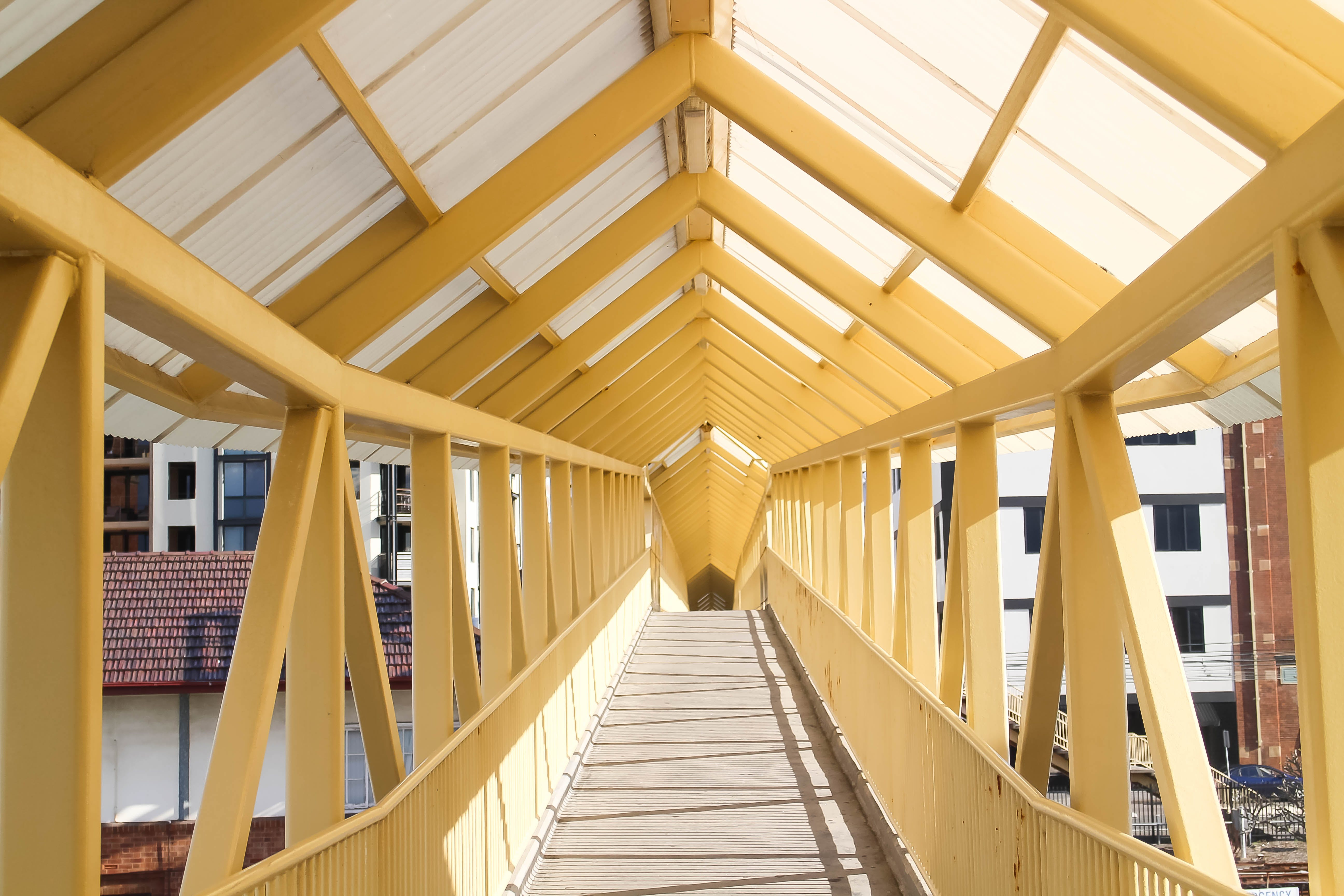 Yellow Cable Bridge With Canopy