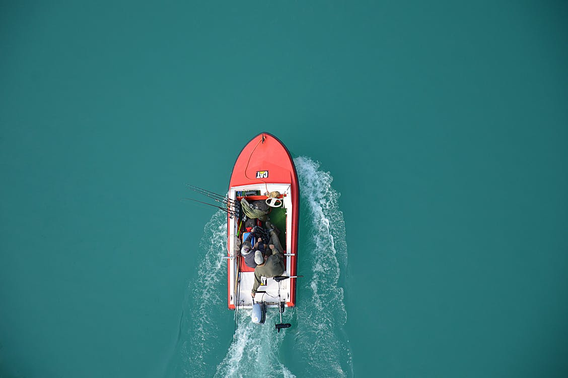 Aerial View of Fisherman on Boat