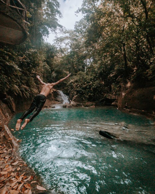 Man Diving at Water Under Green Trees