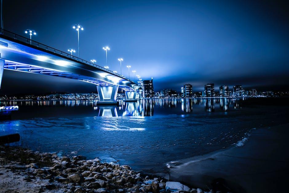 Architecture blue blur bridge