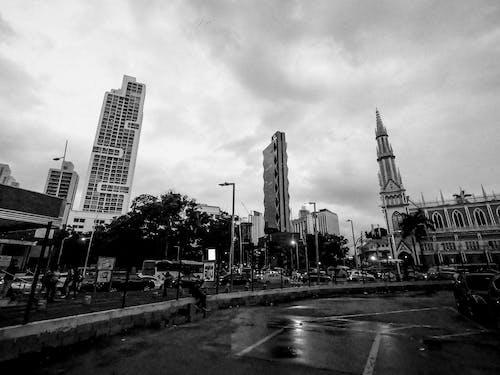 Monochrome Photo of Buildings