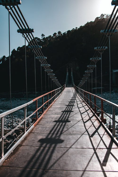 Cable Bridge Connecting Two Mountains