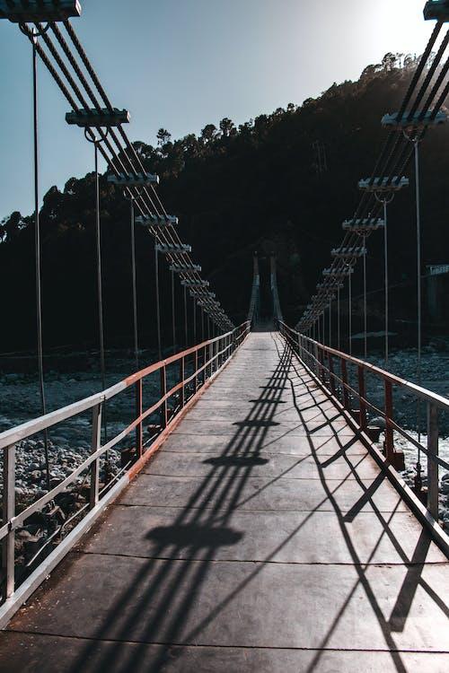 4k-baggrund, Bay Bridge, blå himmel
