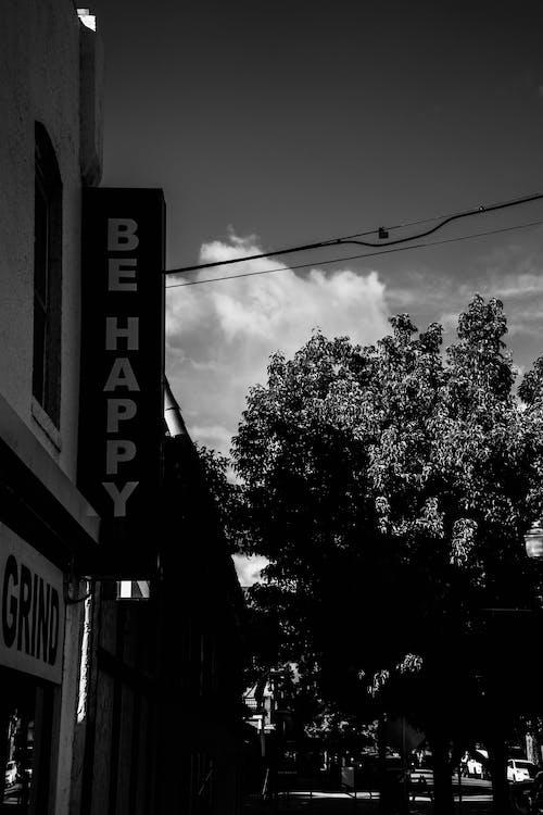 Fotobanka sbezplatnými fotkami na tému buď šťastný, čierna a biela, nápis, šťastný