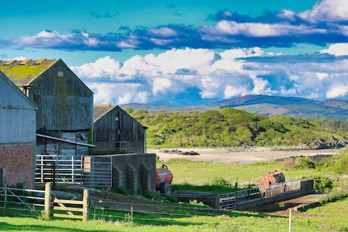 Free stock photo of blue sky, clouds, farm, farm building
