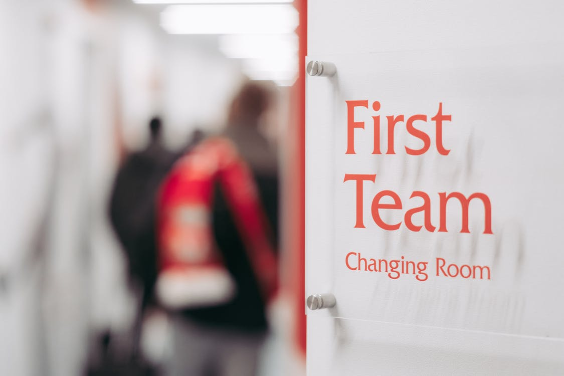 Selective Photography of First Team Changing Room Signage