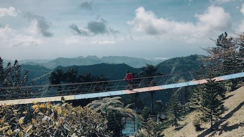 Základová fotografie zdarma na téma cestování, dřevěný most, kopce, ležérní oděv