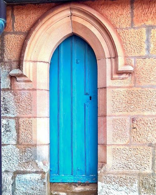 Základová fotografie zdarma na téma církev, modré dveře, oblouk, pískovec