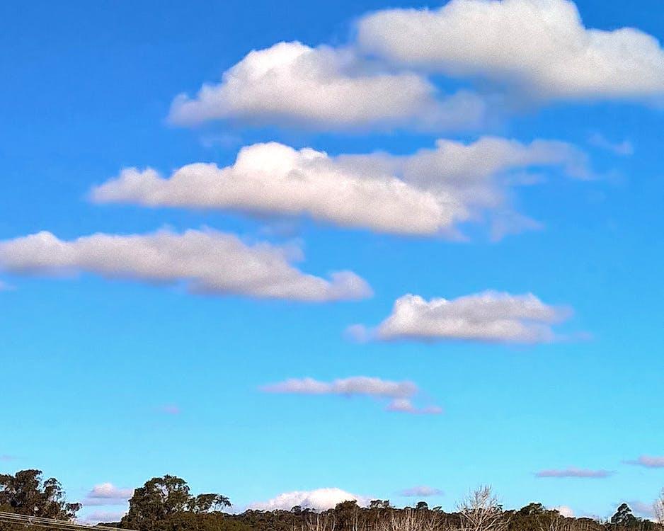 modrá, mrak, obloha