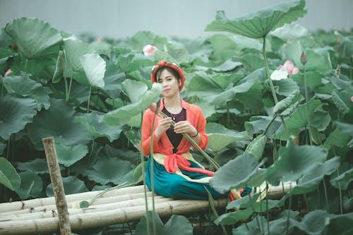 Gratis lagerfoto af åkande, asiatisk kvinde, Asiatisk pige, blomster