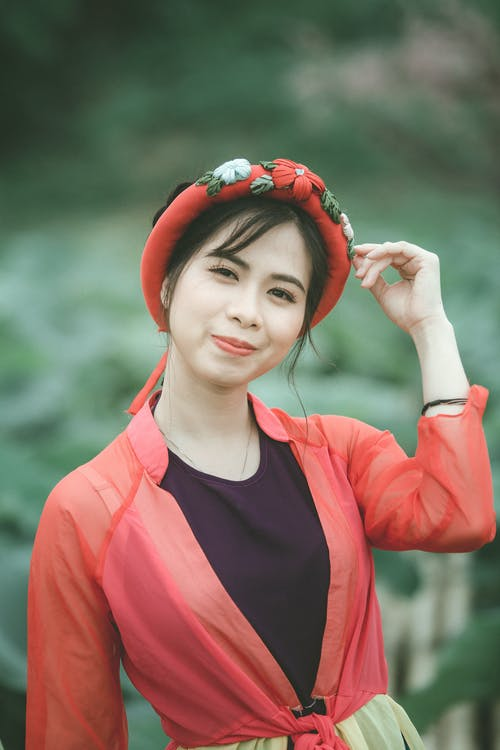 きれいな女性, ほほえむ, アジアの女性