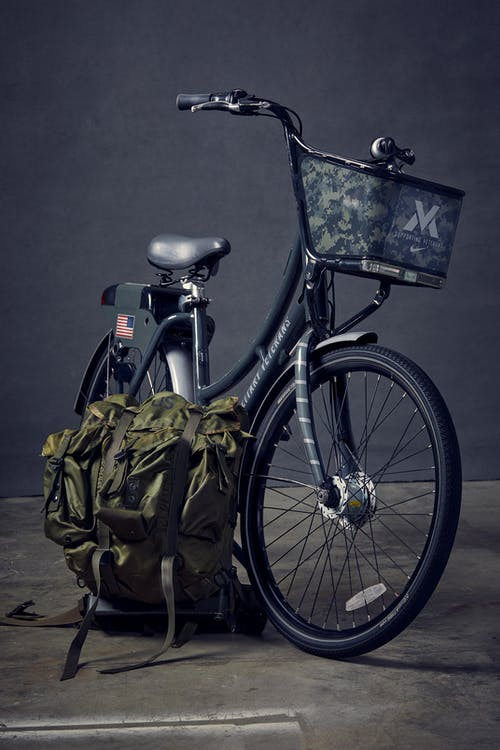 Black Commuter Bike Beside Green Backpack