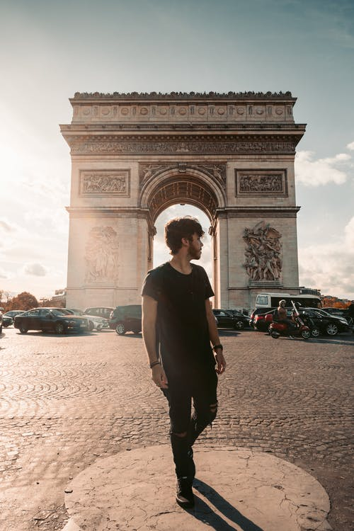 Photo of Man Standing Near the Arc De Triomphe