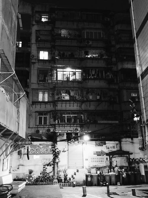 Monochrome Photo of High-Rise Building