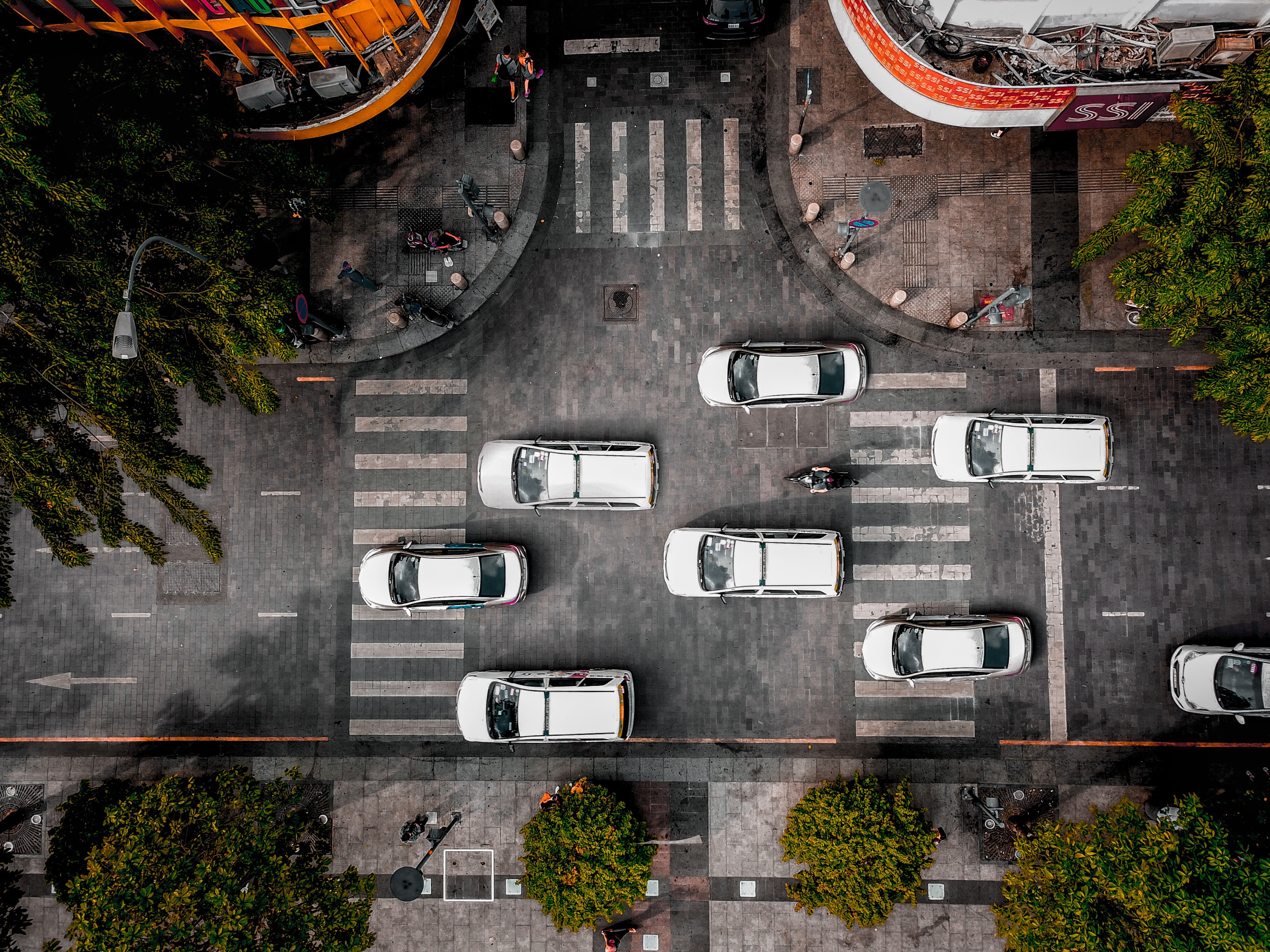 Top View Photo of Cars on Road