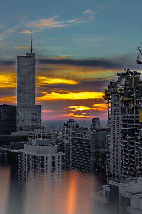 архітектура, будівлі, Захід сонця