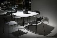 light, black-and-white, desk