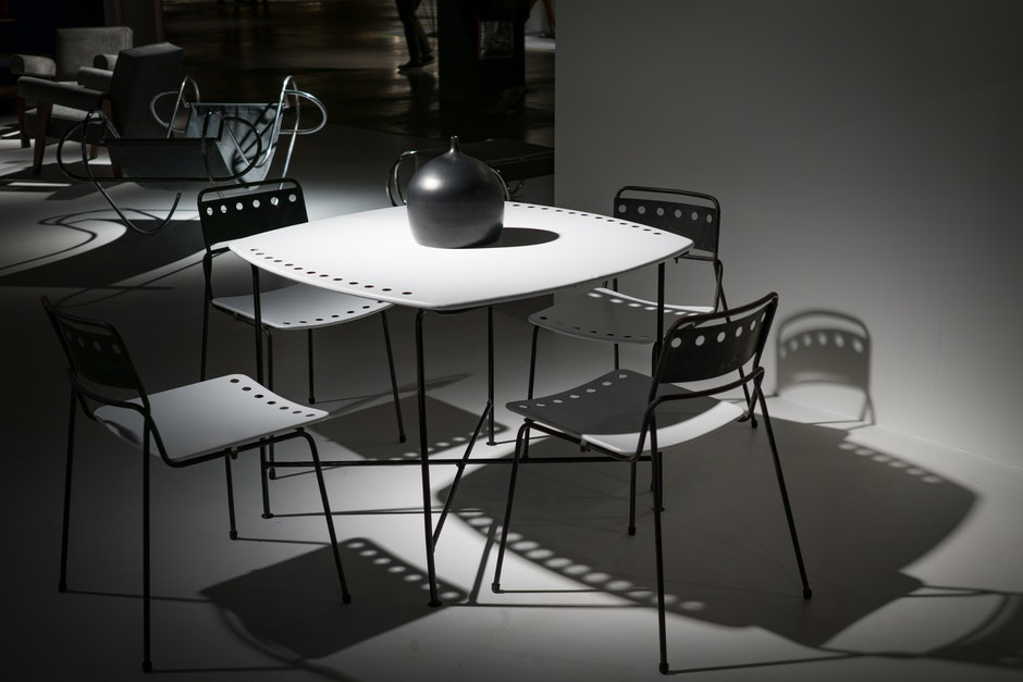 black-and-white, chairs, contemporary