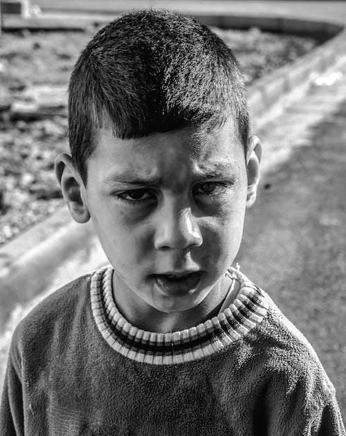 Imagine de stoc gratuită din alb-negru, băiat, chip, copil