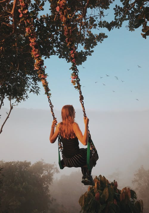 Back View Photo of Woman Swinging