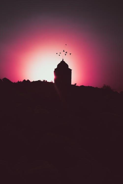 Fotobanka sbezplatnými fotkami na tému červená, krásny západ slnka, mešita, západ slnka
