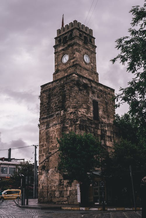 Free stock photo of Antalya, clock tower\, clouds, old street