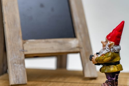 Free stock photo of chalk board, gnome, photography