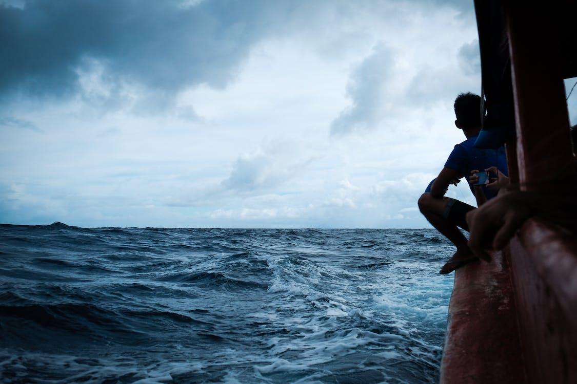 båd, blå hav, rejse