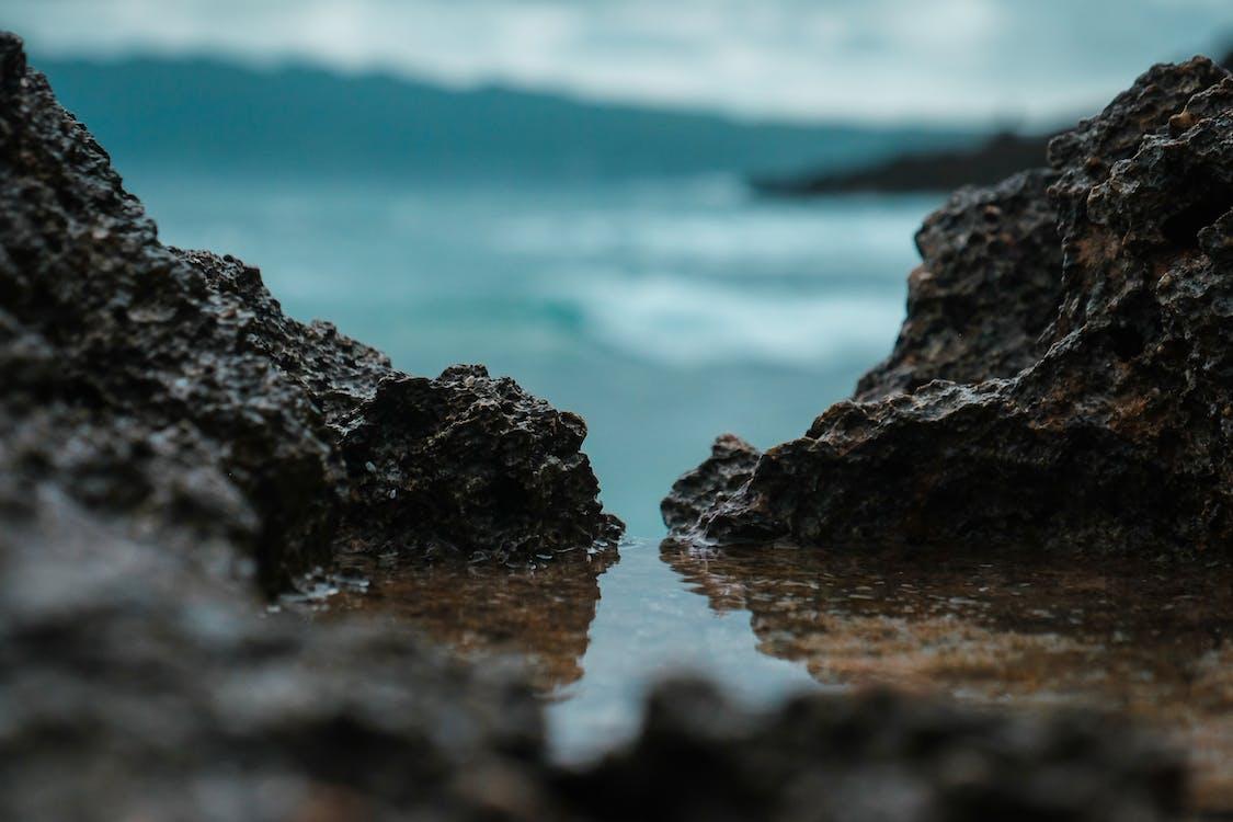fale, kamienie, krajobraz