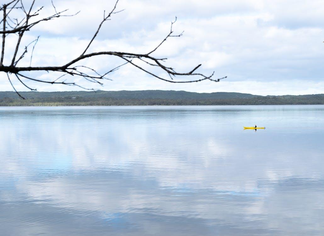 canoeist, fjord, fredelig