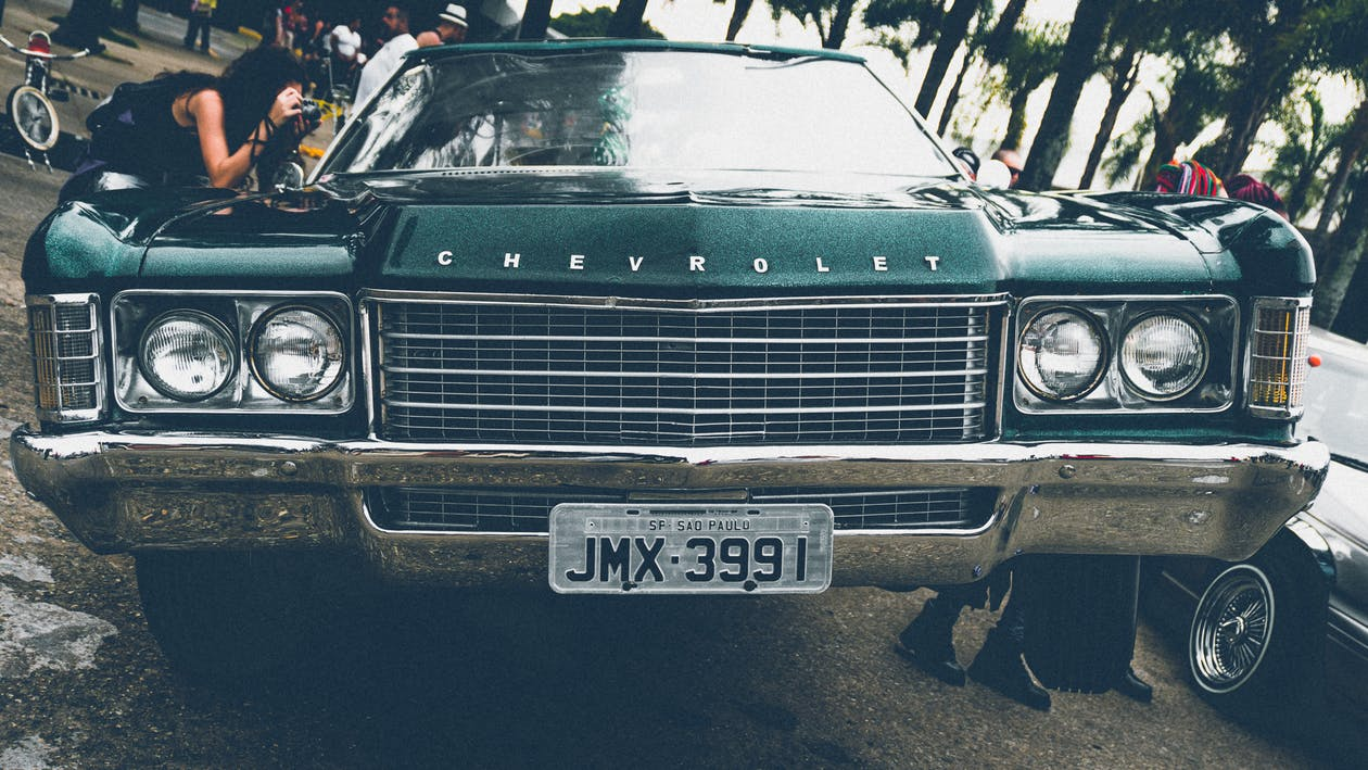 Green Chevrolet Car Showing License Plate