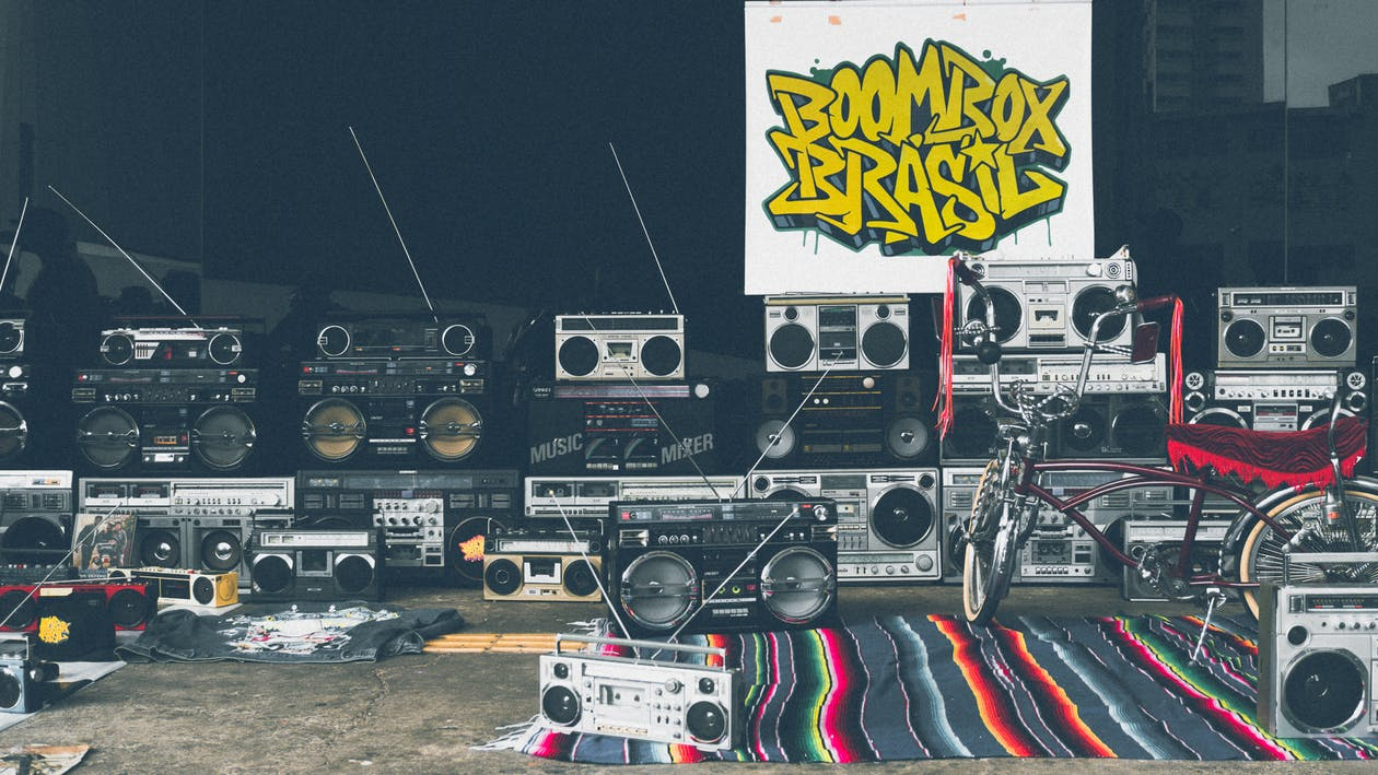 Stacked Grey and Black Boombox Lot