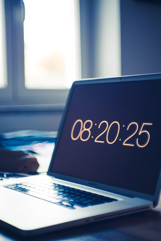 clock, computer, desk