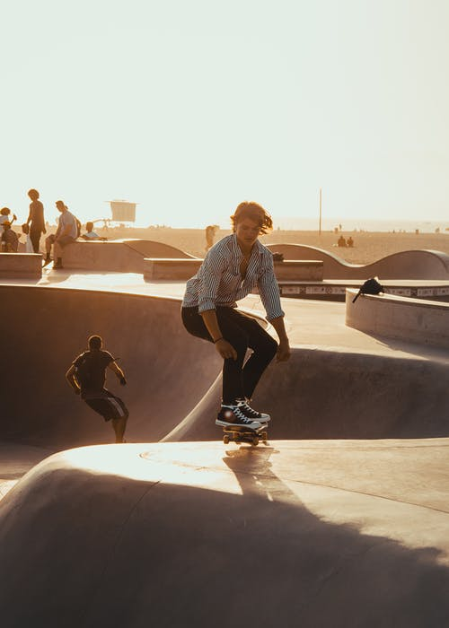 Man riding on skateboard