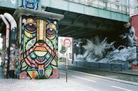 Teal Concrete Bridge And Graffiti On Walls