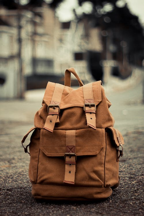 Close-Up Photo of Brown Backpack