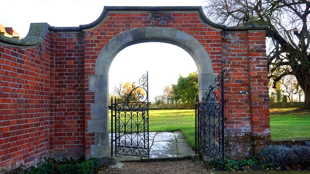 Free stock photo of bricks, wall, garden, trees