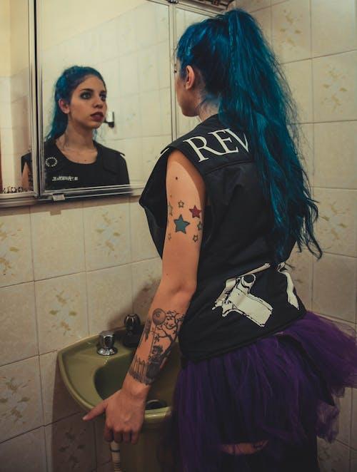 Free stock photo of beautiful, blue, blue hair