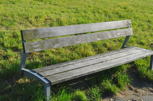 Used Gray Wooden Bench