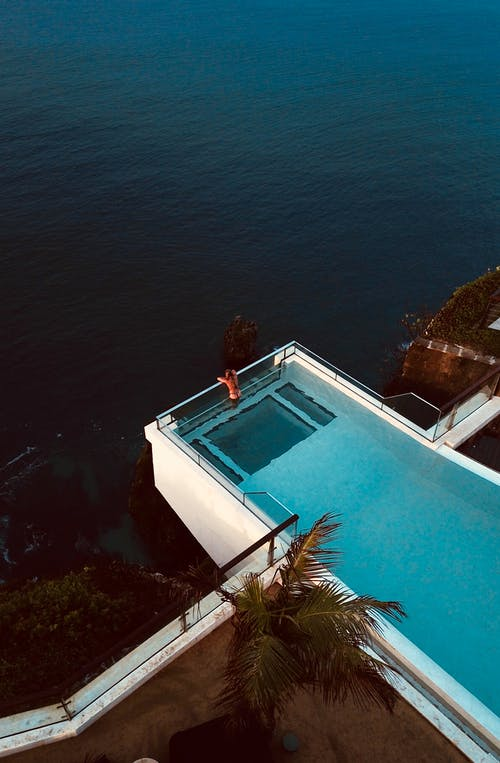Birds Eye Photography of Person on Pool
