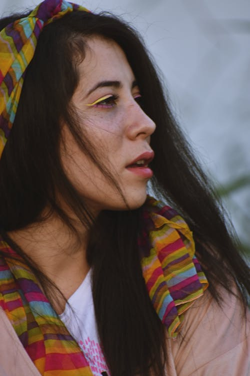 Woman Wearing A Colorful Scarf